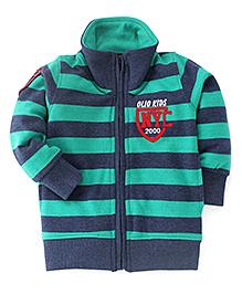 Olio Kids Full Sleeves Sweat Jacket With Fleece Lining - Green