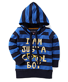 Olio Kids Full Sleeves Hooded Sweat Jacket Cool Print - Blue