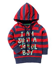 Olio Kids Full Sleeves Hooded Sweat Jacket Cool Print - Red