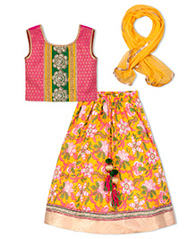 Sorbet Lehenga Choli Set With Border And Lace - Yellow