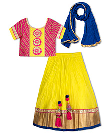 Sorbet Crinkled Lehenga Choli Set With Lace And Border - Yellow