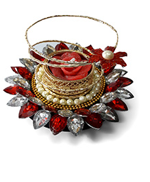 Sugarcart Beautiful Floating Candle Stand With Fragrance Candle - Red