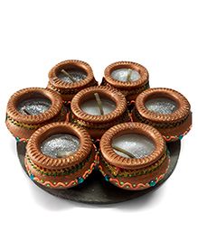 Sugarcart Traditional Clay Matka Diyas With Wax Candle - Copper & Golden