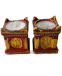 Sugarcart Tulsi Plant Diyas With Wax Candle Set Of 2 Pcs - Red
