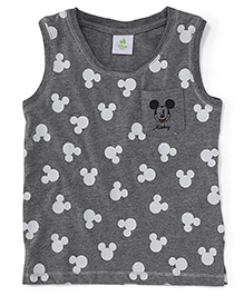 Fox Baby Sleeveless T-Shirt Mickey Mouse Print - Dark Grey