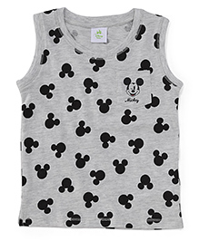 Fox Baby Sleeveless T-Shirt Mickey Mouse Print - Light Grey