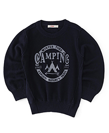 Fox Baby Full Sleeves Sweatshirt Camping Design - Dark Navy