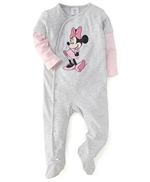 Fox Baby Doctor Sleeves Footed Romper Minnie Mouse Print - Light Grey