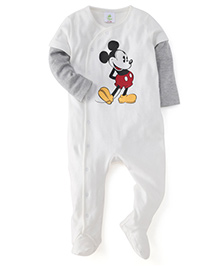 Fox Baby Doctor Sleeves Footed Romper Mickey Mouse Print - Off White