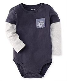 Fox Baby Doctor Sleeves Onesie Heavy Denim Print - Mid Grey White