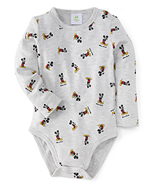 Fox Baby Full Sleeves Onesie Mickey Mouse Print - Light Grey