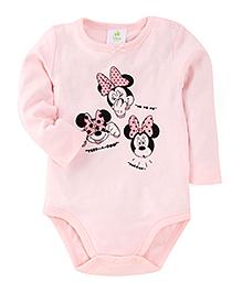 Fox Baby Full Sleeves Onesie Minnie Mouse Print - Pink