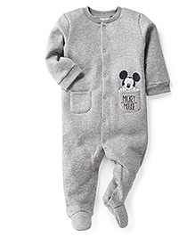 Fox Baby Full Sleeves Footed Romper Mickey Mouse Print - Light Grey