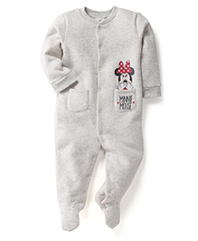 Fox Baby Full Sleeves Footed Romper Minnie Mouse Print - Light Grey
