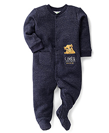 Fox Baby Full Sleeves Footed Romper Simba Print - Blue