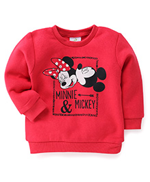 Fox Baby Full Sleeves Sweatshirt Mickey & Minnie Design - Red
