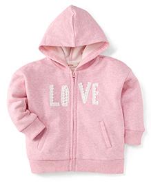 Fox Baby Full Sleeves Hooded Sweatjacket - Pink