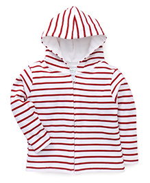 Babyhug Full Sleeves Striped Hooded Sweatjacket - Red & White