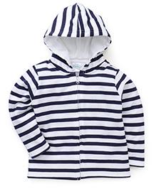 Babyhug Full Sleeves Striped Hooded Sweatjacket - Navy & White