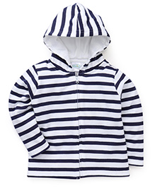 Babyhug Full Sleeves Striped Hooded Sweatjacket - Navy & White