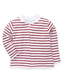 Babyhug Full Sleeves Striped Sweatjacket - Red & White