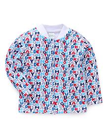 Babyhug Full Sleeves Alphabet Print Sweatjacket - Multi Color & White