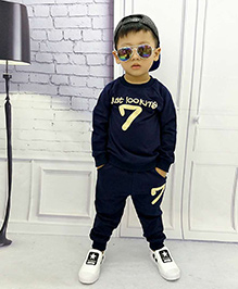 Aww Hunnie 7 No Boys Autumn Winter Track Suit - Blue