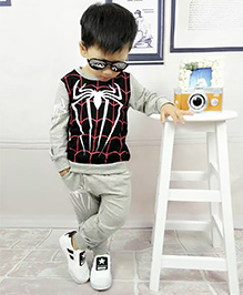 Aww Hunnie Spider Print Boys Autumn Winter Track Suit - Grey