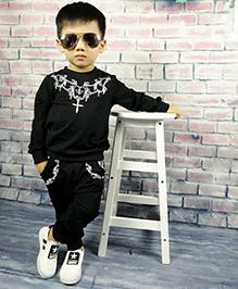 Aww Hunnie Neck Print Boys Autumn Winter Track Suit - Black