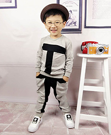 Aww Hunnie T Boys Autumn Winter Track Suit - Grey