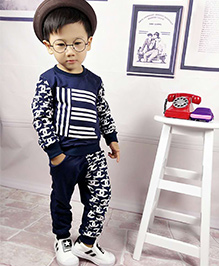 Aww Hunnie Printed Boys Autumn Winter Track Suit - Blue