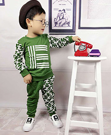 Aww Hunnie Printed Boys Autumn Winter Track Suit - Green