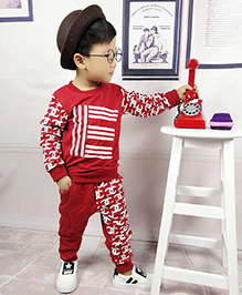 Aww Hunnie Printed Boys Autumn Winter Track Suit - Red