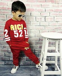 Aww Hunnie Rich Baby Boys Autumn Winter Track Suit - Red