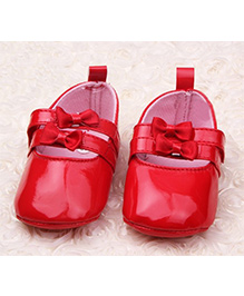 Akinos Kids Booties With Bow Applique - Red
