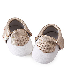Akinos Kids Booties With Fringed Design - Gold White