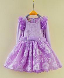 Pre Order - Lil Mantra Floral Design Dress - Purple