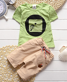 Pre Order - Lil Mantra T-Shirt And Capris Set - Green