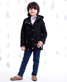 One Friday Boys Long Jacket With Furr - Black