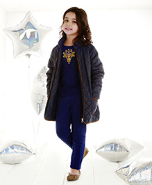 One Friday Quilled Jacket - Navy Blue