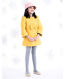 One Friday Woolen Dress With Bow - Mustard