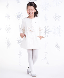 One Friday Woolen Dress With Bow - White