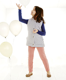 One Friday Girls Quilled Jacket With Fur Border - Grey