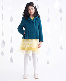 One Friday Jacket With Pleat At The Bottom - Teal