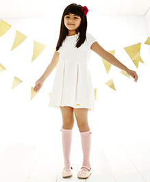 One Friday Bow Applique Knitted Dress - Off White