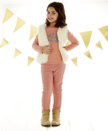 One Friday Girls Knitted Trouser - Bright Pink
