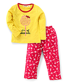 Valentine Full Sleeves Printed Night Suit - Yellow And Pink