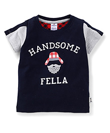 Ollypop Half Sleeves T-Shirt Handsome Fella Print - Navy Blue