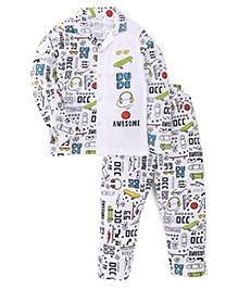 Ollypop Full Sleeves Printed Night Suit - White