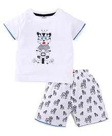 Ollypop Half Sleeves T-Shirt And Shorts Set Tiger On Bike Print - White